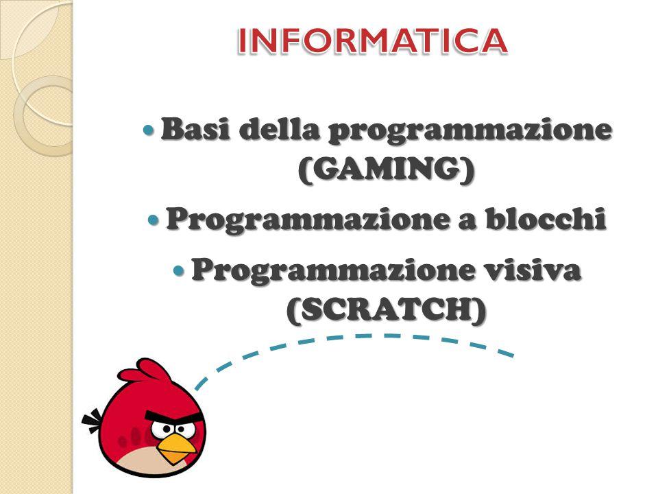 Basi della programmazione (GAMING) Basi della programmazione (GAMING) Programmazione a blocchi Programmazione a blocchi Programmazione visiva (SCRATCH