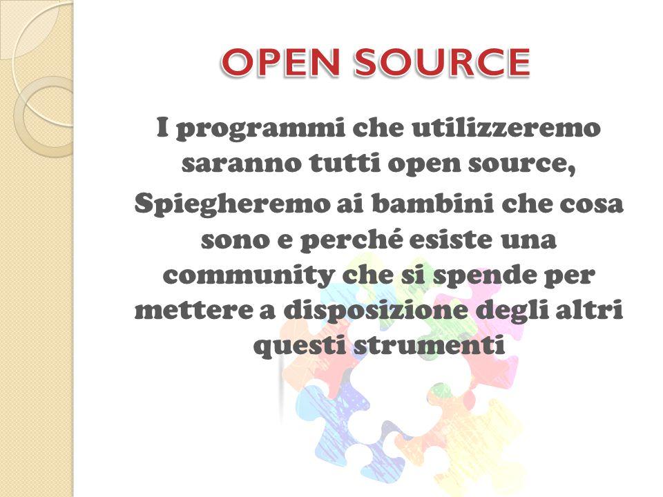 I programmi che utilizzeremo saranno tutti open source, Spiegheremo ai bambini che cosa sono e perché esiste una community che si spende per mettere a