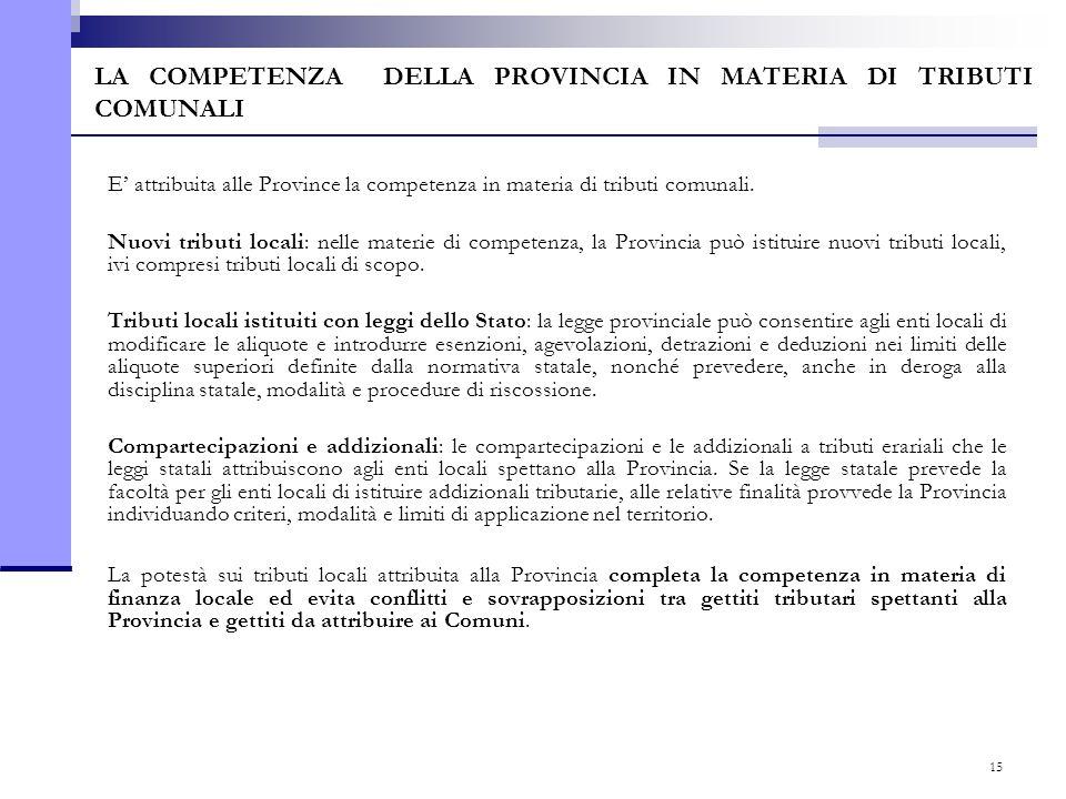15 LA COMPETENZA DELLA PROVINCIA IN MATERIA DI TRIBUTI COMUNALI E' attribuita alle Province la competenza in materia di tributi comunali. Nuovi tribut