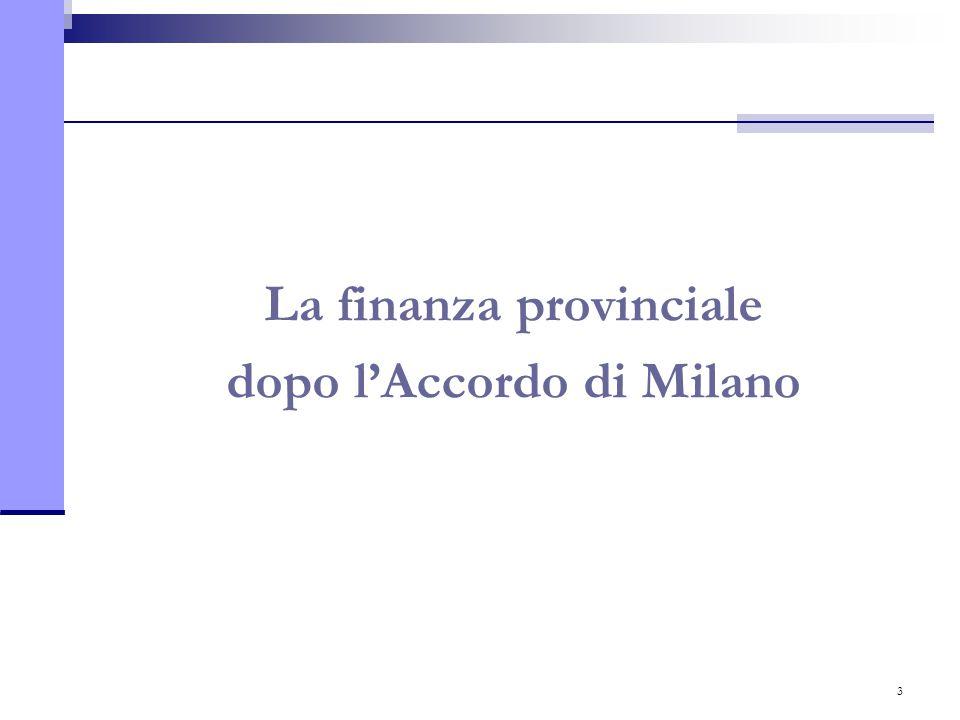 3 La finanza provinciale dopo l'Accordo di Milano