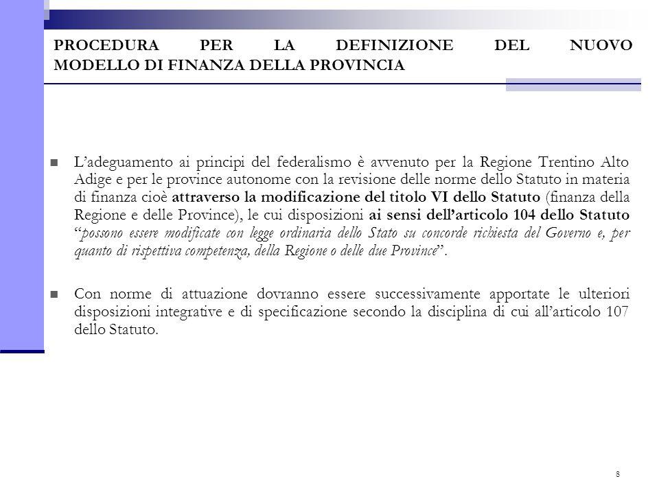 8 PROCEDURA PER LA DEFINIZIONE DEL NUOVO MODELLO DI FINANZA DELLA PROVINCIA L'adeguamento ai principi del federalismo è avvenuto per la Regione Trenti