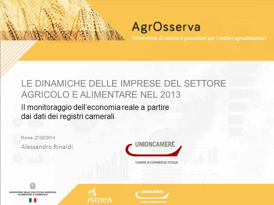 L'informazione economica sul sistema agricolo dal Registro delle Imprese …e 68.420 le imprese del comparto alimentare A fine dicembre 2013 risultano iscritte nei registri delle Camere di commercio oltre 841 mila aziende agroalimentari.
