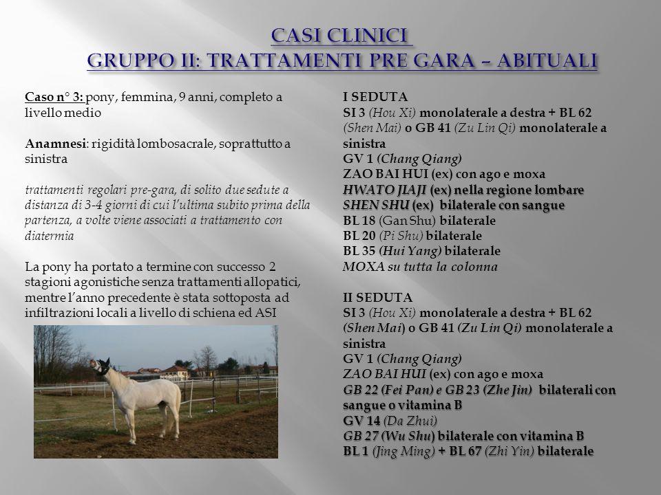 Caso n° 3: pony, femmina, 9 anni, completo a livello medio Anamnesi : rigidità lombosacrale, soprattutto a sinistra trattamenti regolari pre-gara, di