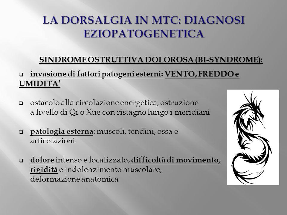 SINDROME OSTRUTTIVA DOLOROSA (BI-SYNDROME) SINDROME OSTRUTTIVA DOLOROSA (BI-SYNDROME): VENTO, FREDDO e UMIDITA'  invasione di fattori patogeni estern