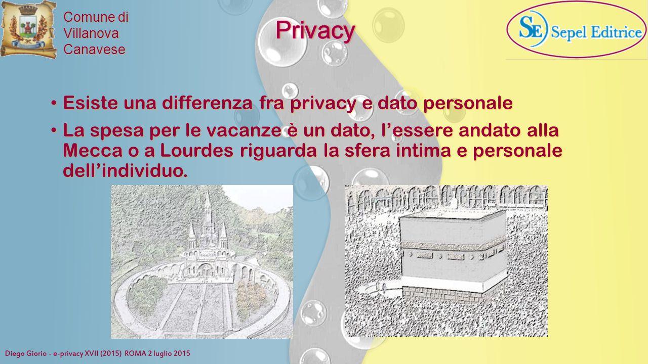Comune di VillanovaCanavese Esiste una differenza fra privacy e dato personale Esiste una differenza fra privacy e dato personale La spesa per le vaca