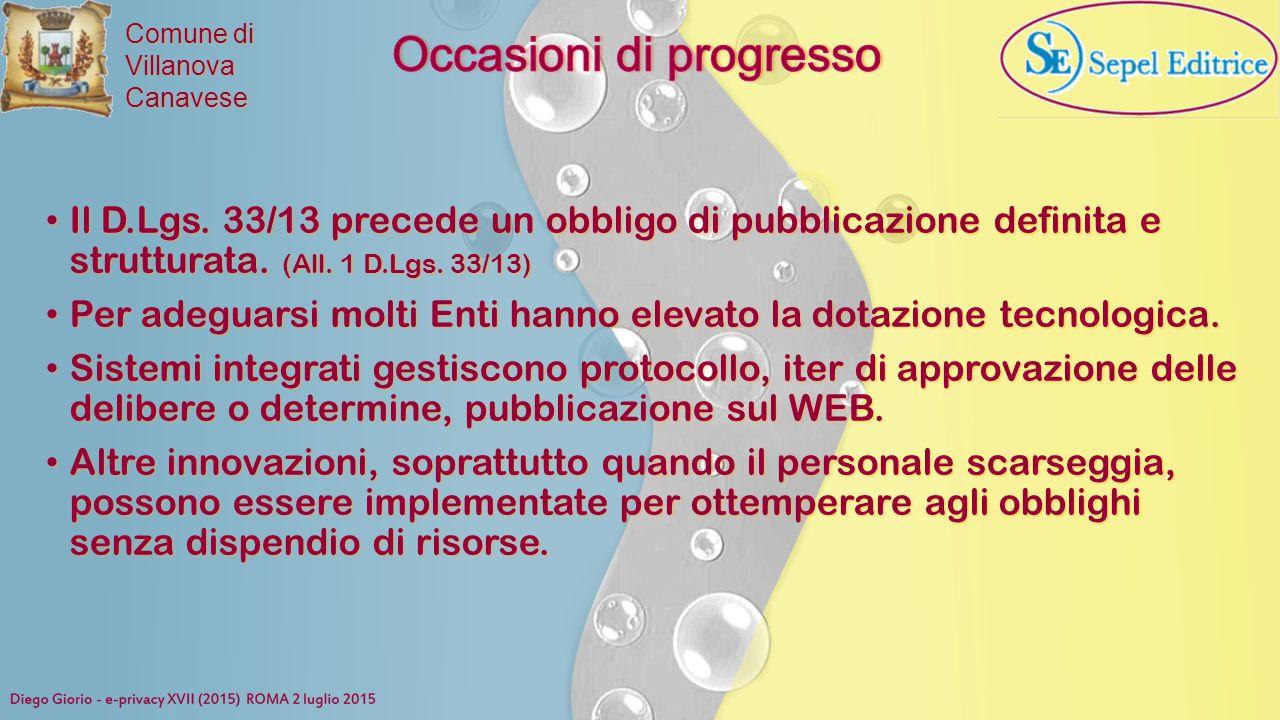 Comune di VillanovaCanavese Il D.Lgs. 33/13 precede un obbligo di pubblicazione definita e strutturata. (All. 1 D.Lgs. 33/13) Il D.Lgs. 33/13 precede