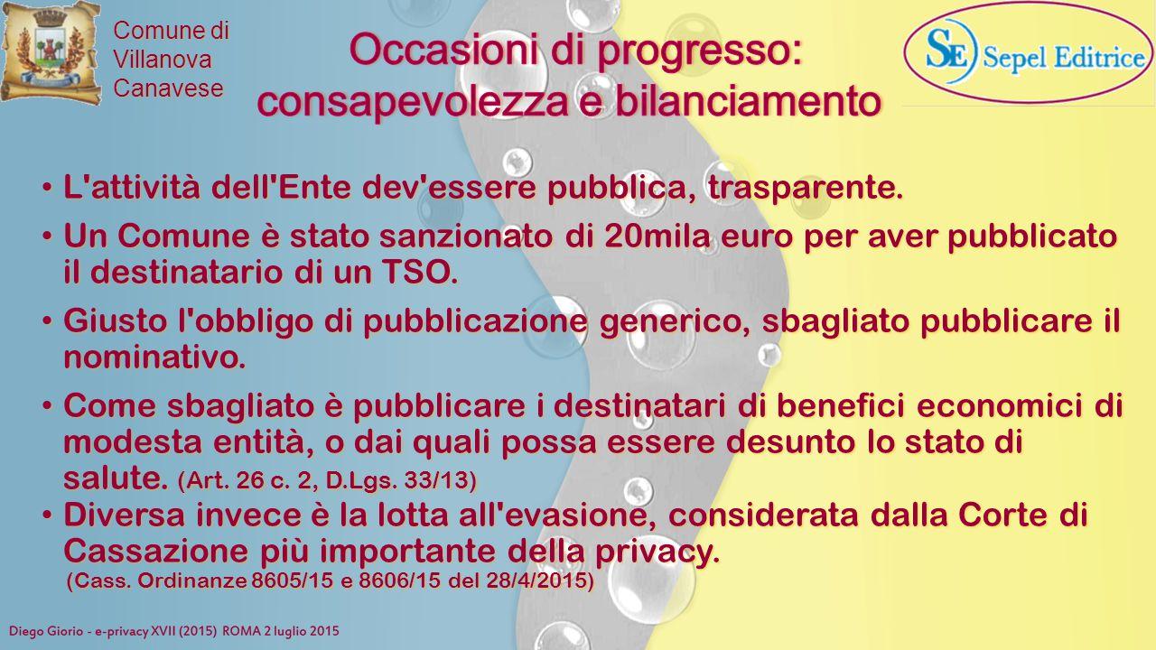 Comune di VillanovaCanavese L'attività dell'Ente dev'essere pubblica, trasparente. L'attività dell'Ente dev'essere pubblica, trasparente. Un Comune è