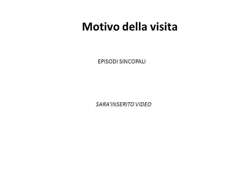 Motivo della visita EPISODI SINCOPALI SARA'INSERITO VIDEO
