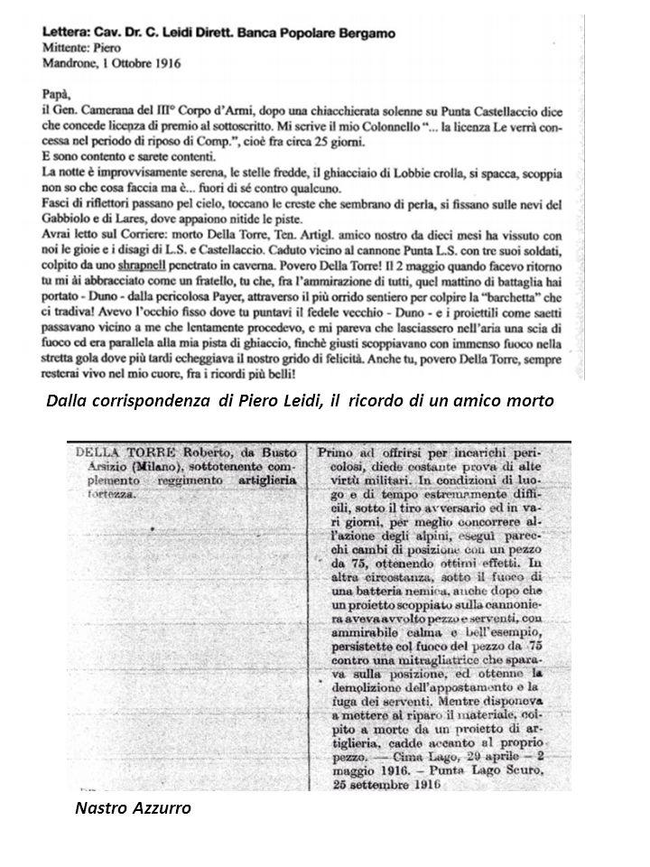 Dalla corrispondenza di Piero Leidi, il ricordo di un amico morto Nastro Azzurro