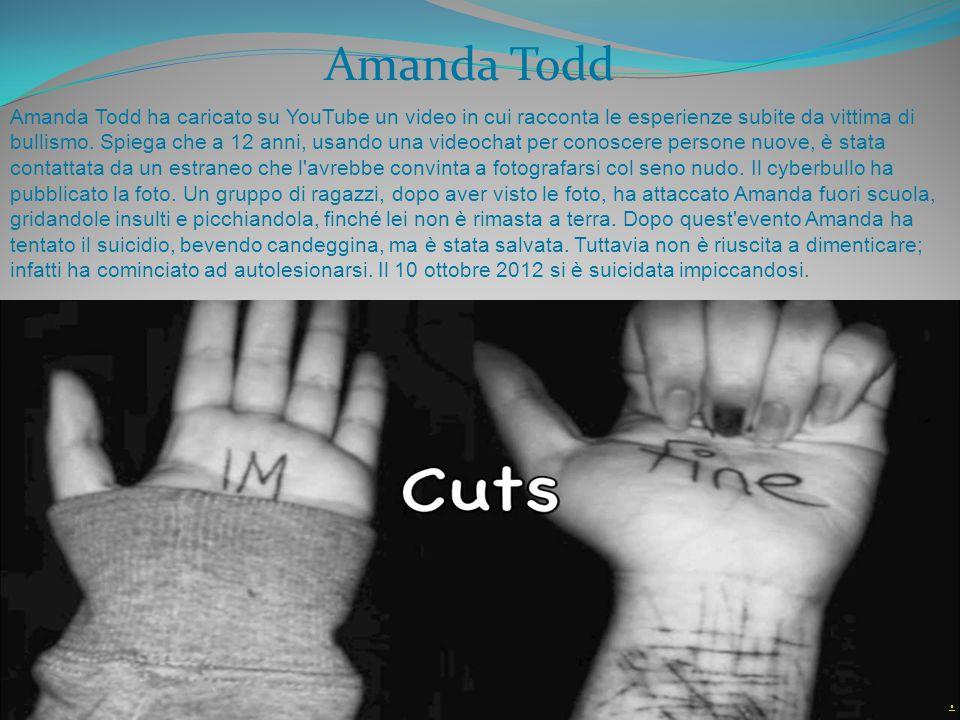 Amanda Todd ha caricato su YouTube un video in cui racconta le esperienze subite da vittima di bullismo. Spiega che a 12 anni, usando una videochat pe