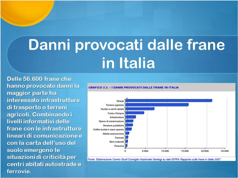 Danni provocati dalle frane in Italia Delle 56.600 frane che hanno provocato danni la maggior parte ha interessato infrastrutture di trasporto o terre