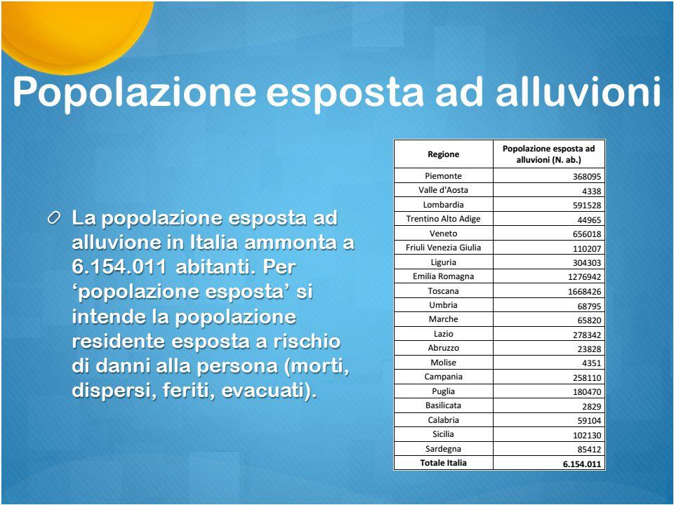 Popolazione esposta ad alluvioni La popolazione esposta ad alluvione in Italia ammonta a 6.154.011 abitanti. Per 'popolazione esposta' si intende la p