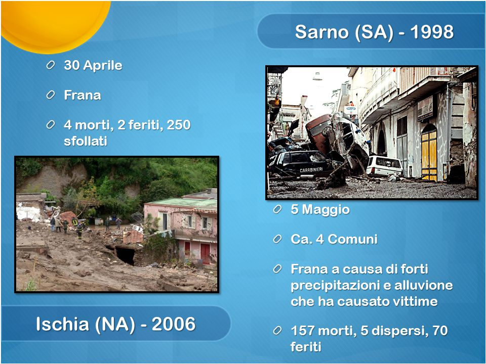 Sarno (SA) - 1998 Ischia (NA) - 2006 5 Maggio Ca. 4 Comuni Frana a causa di forti precipitazioni e alluvione che ha causato vittime 157 morti, 5 dispe