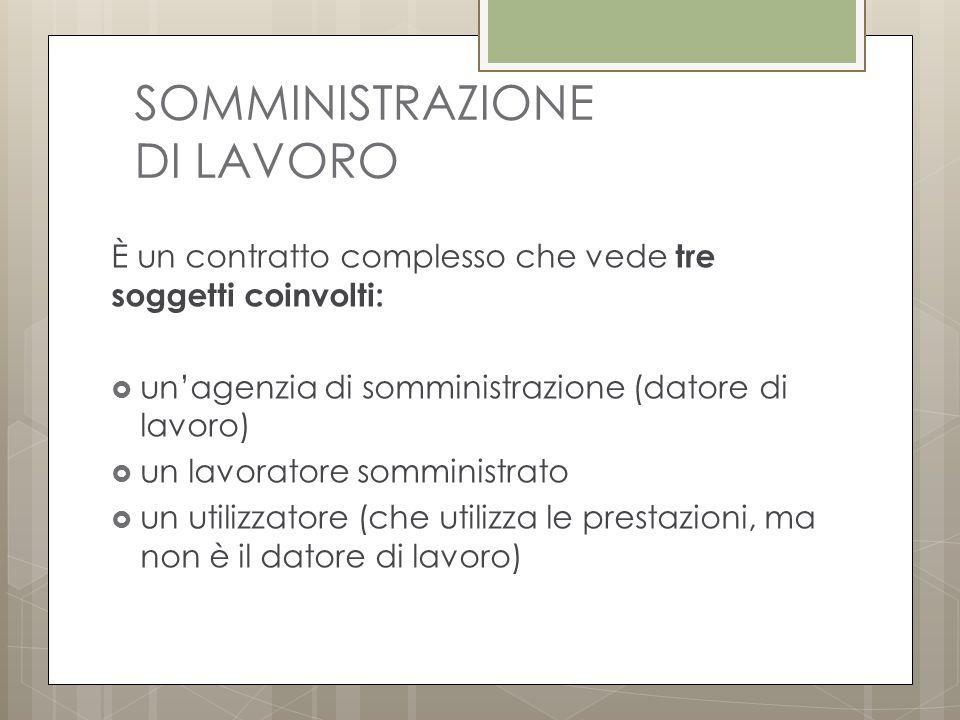 SOMMINISTRAZIONE DI LAVORO È un contratto complesso che vede tre soggetti coinvolti:  un'agenzia di somministrazione (datore di lavoro)  un lavoratore somministrato  un utilizzatore (che utilizza le prestazioni, ma non è il datore di lavoro)