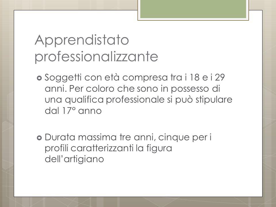 Apprendistato professionalizzante  Soggetti con età compresa tra i 18 e i 29 anni.