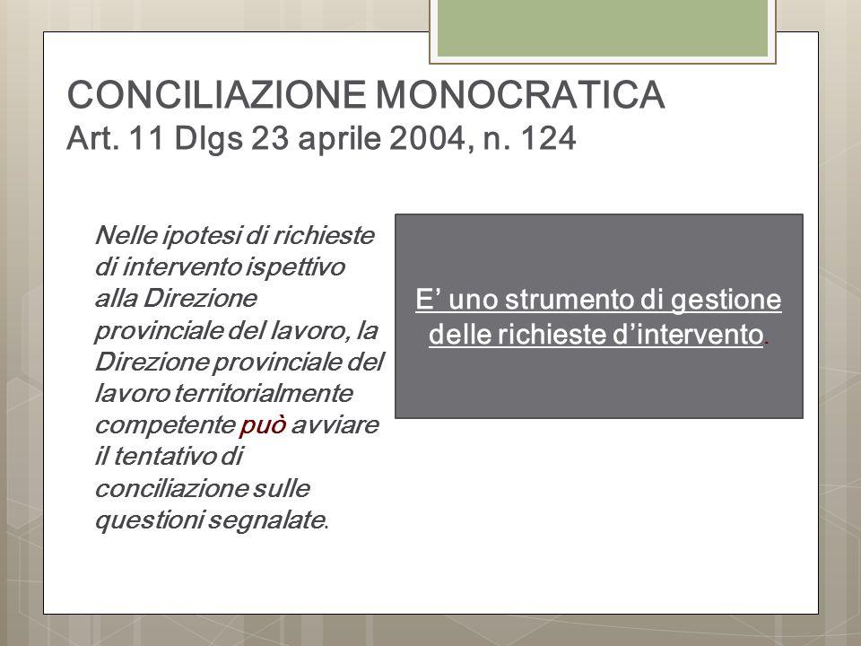 CONCILIAZIONE MONOCRATICA Art.11 Dlgs 23 aprile 2004, n.