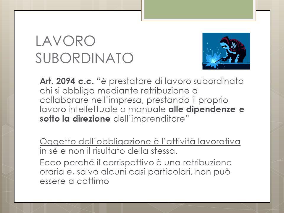 LAVORO SUBORDINATO Art.2094 c.c.