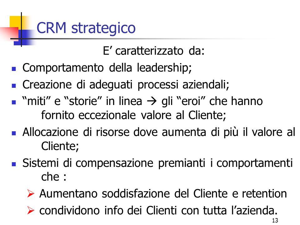 """13 CRM strategico E' caratterizzato da: Comportamento della leadership; Creazione di adeguati processi aziendali; """"miti"""" e """"storie"""" in linea  gli """"er"""