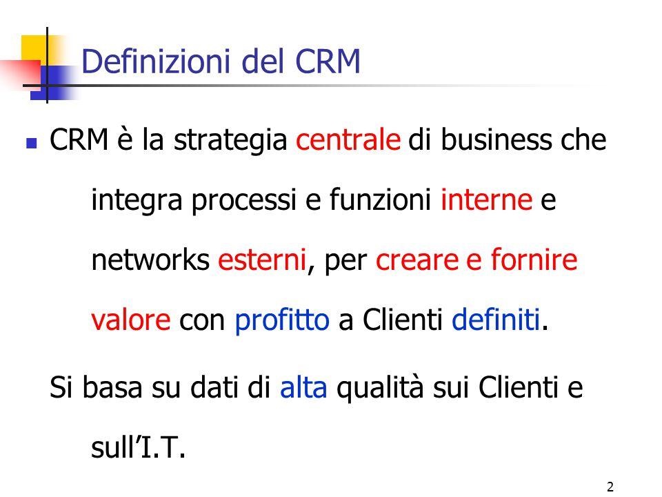 2 Definizioni del CRM CRM è la strategia centrale di business che integra processi e funzioni interne e networks esterni, per creare e fornire valore