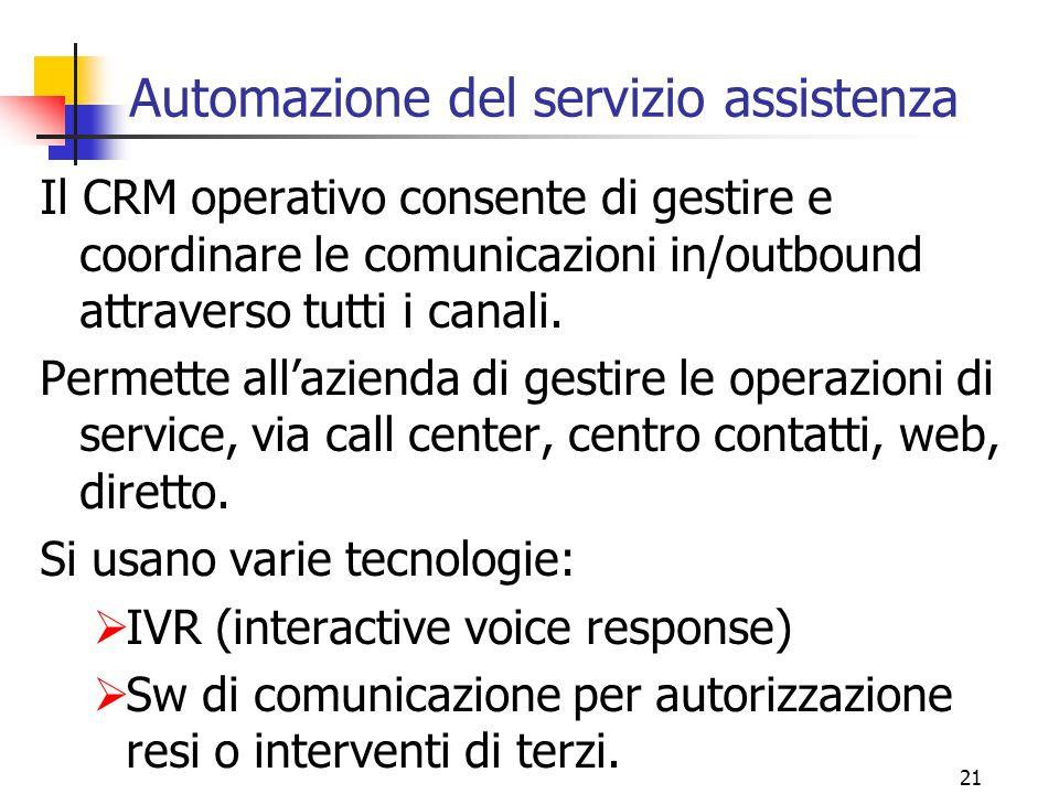 21 Automazione del servizio assistenza Il CRM operativo consente di gestire e coordinare le comunicazioni in/outbound attraverso tutti i canali. Perme