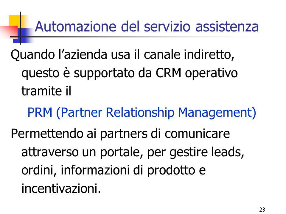 23 Automazione del servizio assistenza Quando l'azienda usa il canale indiretto, questo è supportato da CRM operativo tramite il PRM (Partner Relation