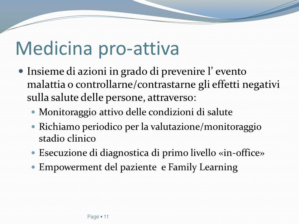 Medicina pro-attiva Insieme di azioni in grado di prevenire l' evento malattia o controllarne/contrastarne gli effetti negativi sulla salute delle per