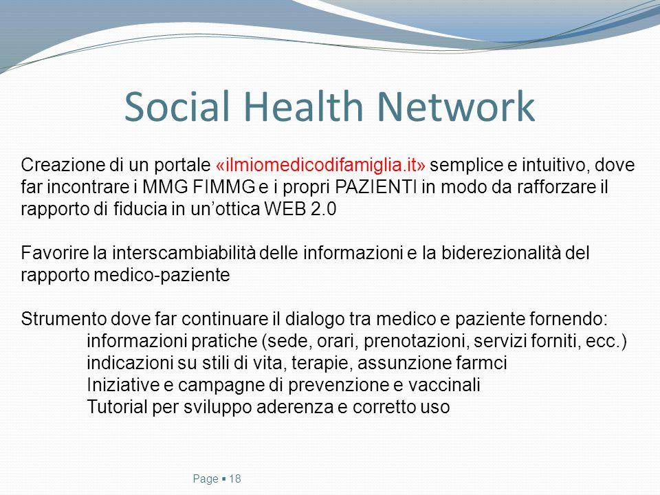 Social Health Network Page  18 Creazione di un portale «ilmiomedicodifamiglia.it» semplice e intuitivo, dove far incontrare i MMG FIMMG e i propri PA
