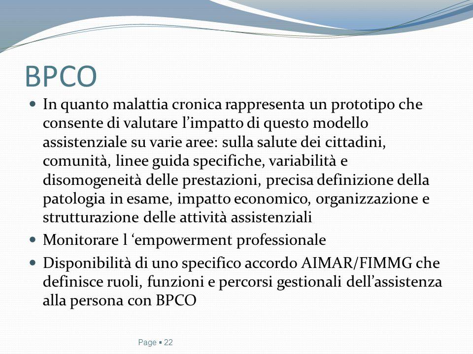 BPCO Page  22 In quanto malattia cronica rappresenta un prototipo che consente di valutare l'impatto di questo modello assistenziale su varie aree: s