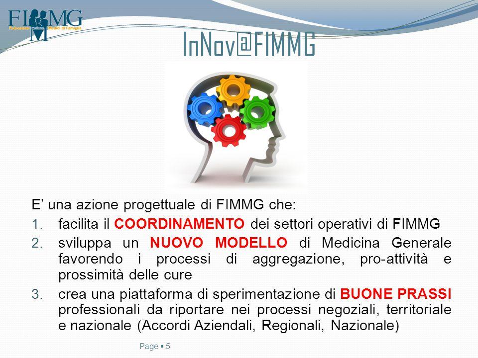 InNov@FIMMG E' una azione progettuale di FIMMG che: 1. facilita il COORDINAMENTO dei settori operativi di FIMMG 2. sviluppa un NUOVO MODELLO di Medici