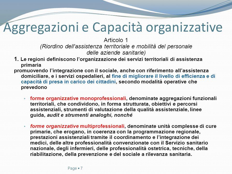 Aggregazioni e Capacità organizzative Articolo 1 (Riordino dell'assistenza territoriale e mobilità del personale delle aziende sanitarie) 1. Le region