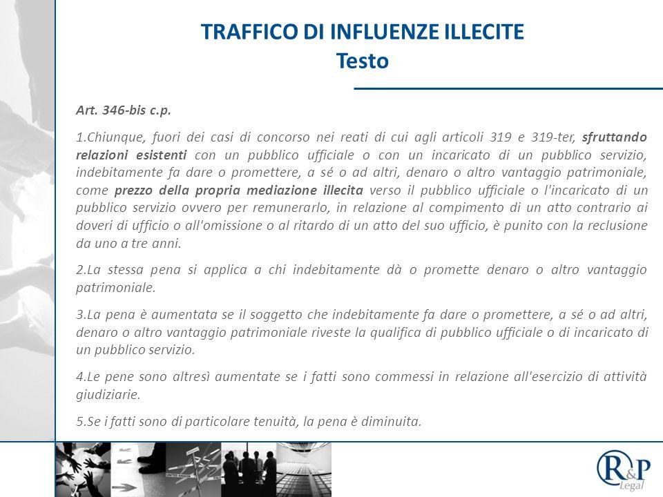 TRAFFICO DI INFLUENZE ILLECITE Testo Art. 346-bis c.p.