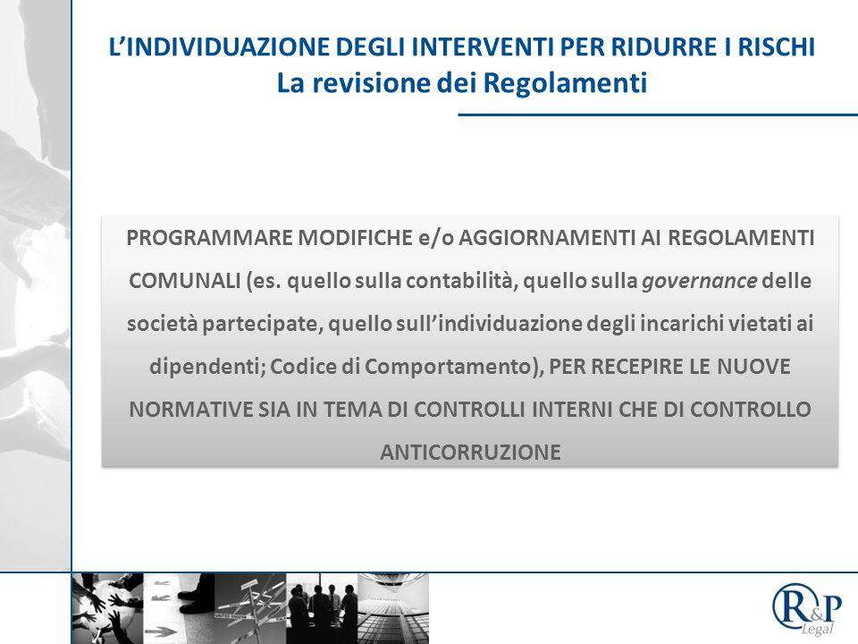 L'INDIVIDUAZIONE DEGLI INTERVENTI PER RIDURRE I RISCHI La revisione dei Regolamenti PROGRAMMARE MODIFICHE e/o AGGIORNAMENTI AI REGOLAMENTI COMUNALI (es.