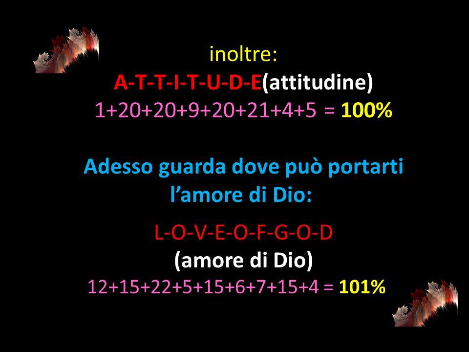 allora: H-A-R-D-W-O-R- K (lavoro duro) 8+1+18+4+23+15+18+11 = 98% e: K-N-O-W-L-E-D-G-E (conoscenza) 11+14+15+23+12+5+4+7+5 = 96%