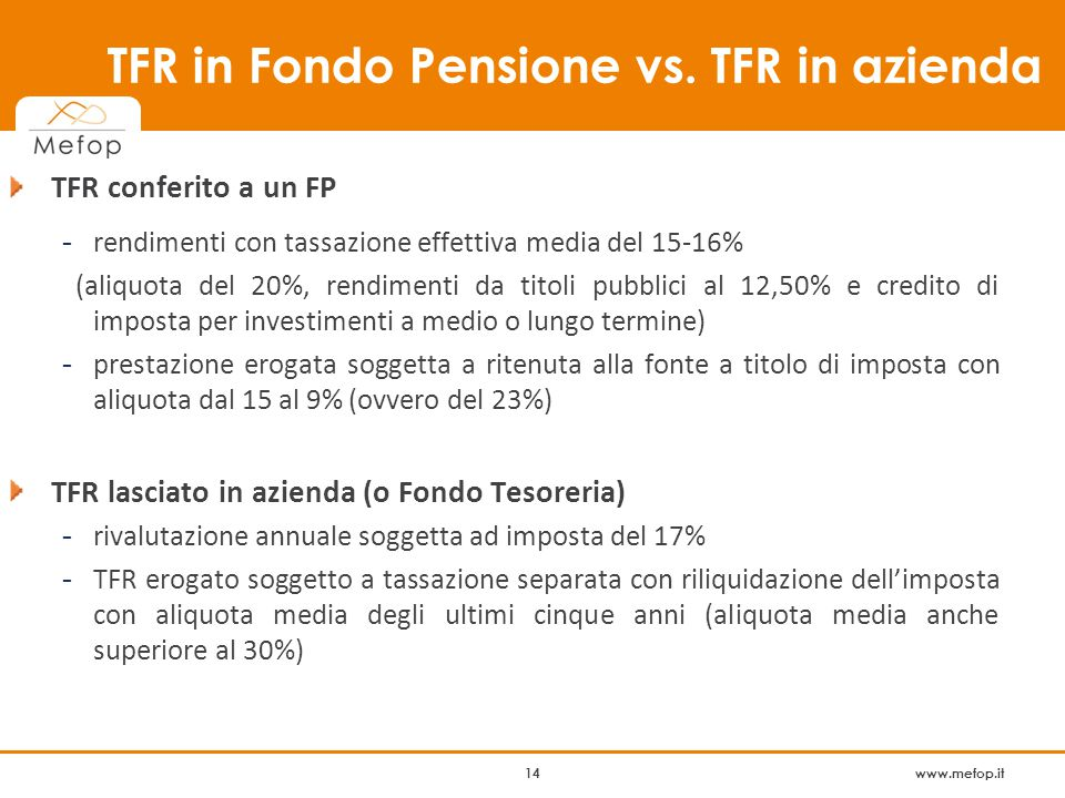 www.mefop.it 14 TFR in Fondo Pensione vs.