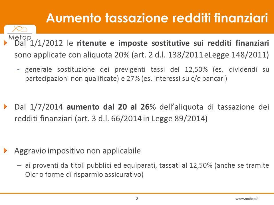 www.mefop.it 2 Dal 1/1/2012 le ritenute e imposte sostitutive sui redditi finanziari sono applicate con aliquota 20% (art.
