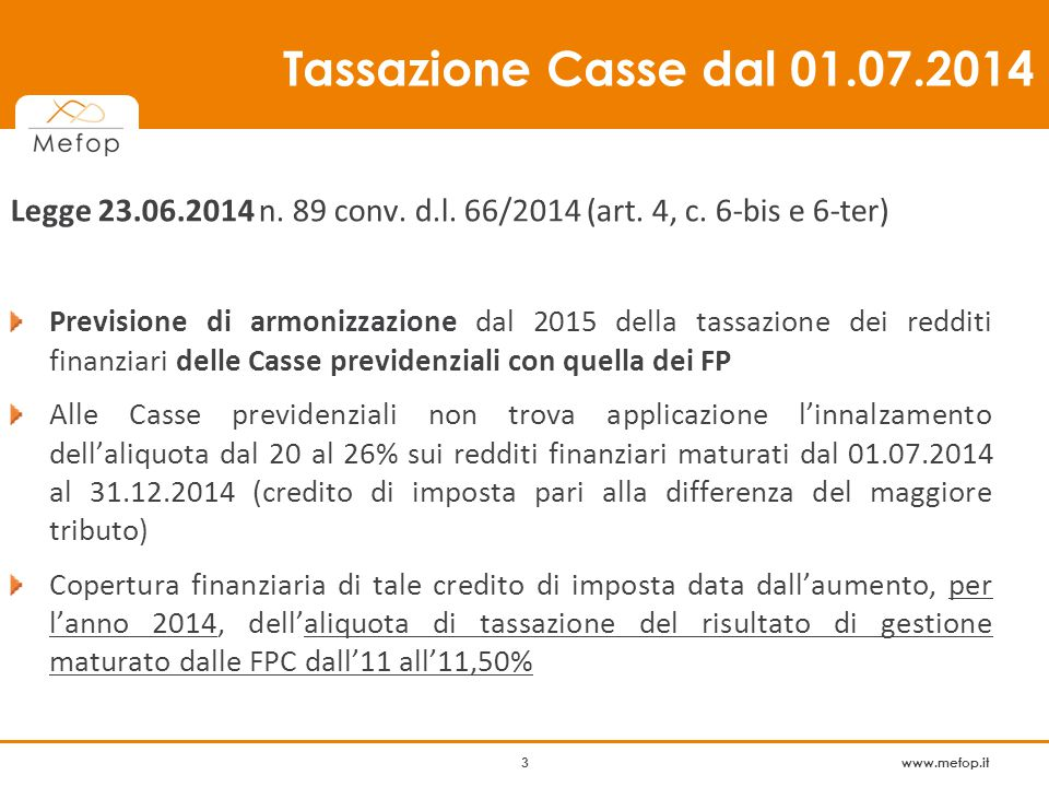 www.mefop.it 14 TFR in Fondo Pensione vs.