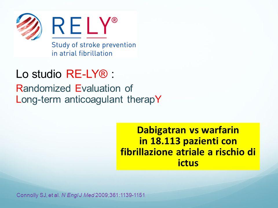 Dabigatran vs warfarin in 18.113 pazienti con fibrillazione atriale a rischio di ictus Connolly SJ, et al.