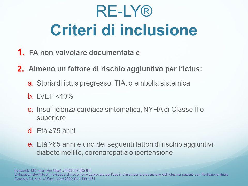 RE-LY® Criteri di inclusione 1. FA non valvolare documentata e 2. Almeno un fattore di rischio aggiuntivo per l'ictus: a. Storia di ictus pregresso, T