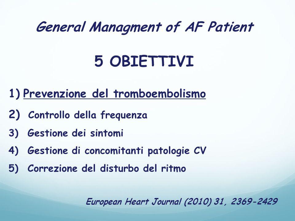 General Managment of AF Patient 5 OBIETTIVI 1)Prevenzione del tromboembolismo 2) Controllo della frequenza 3) Gestione dei sintomi 4) Gestione di concomitanti patologie CV 5) Correzione del disturbo del ritmo European Heart Journal (2010) 31, 2369-2429