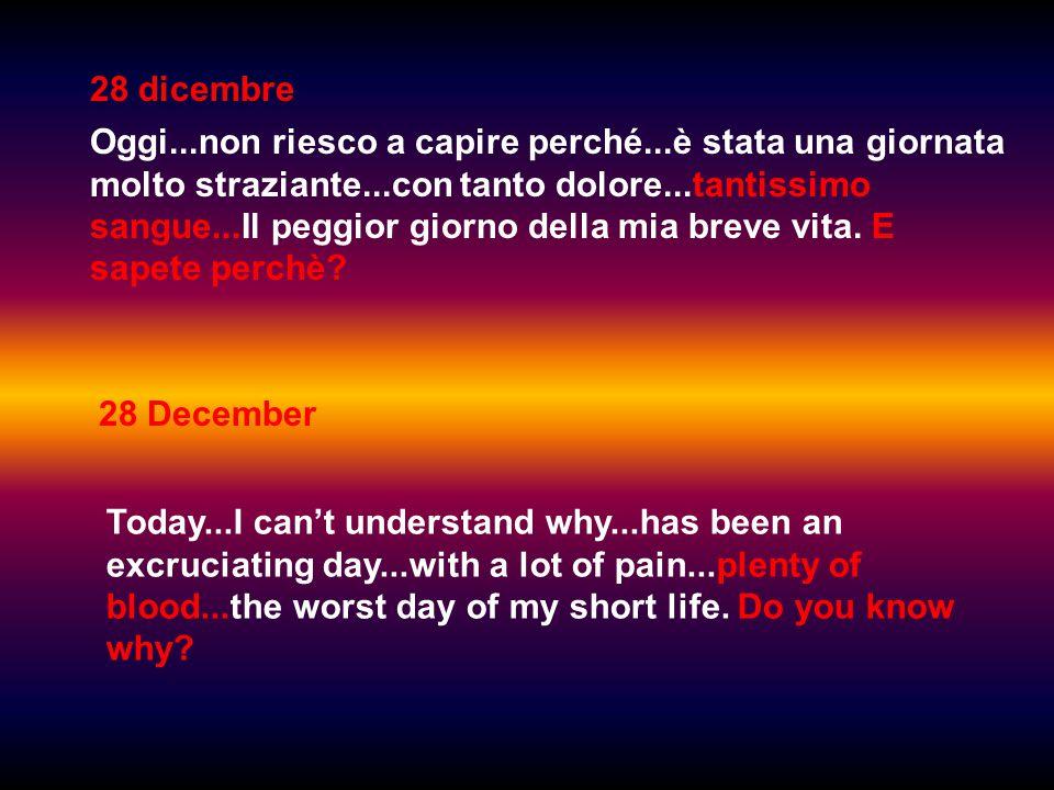 28 dicembre Oggi...non riesco a capire perché...è stata una giornata molto straziante...con tanto dolore...tantissimo sangue...Il peggior giorno della