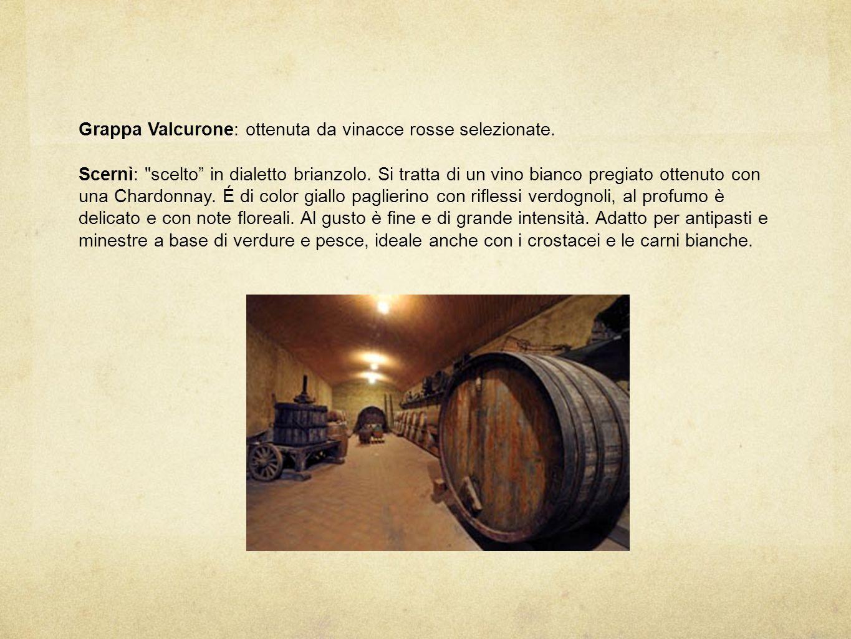 Grappa Valcurone: ottenuta da vinacce rosse selezionate.