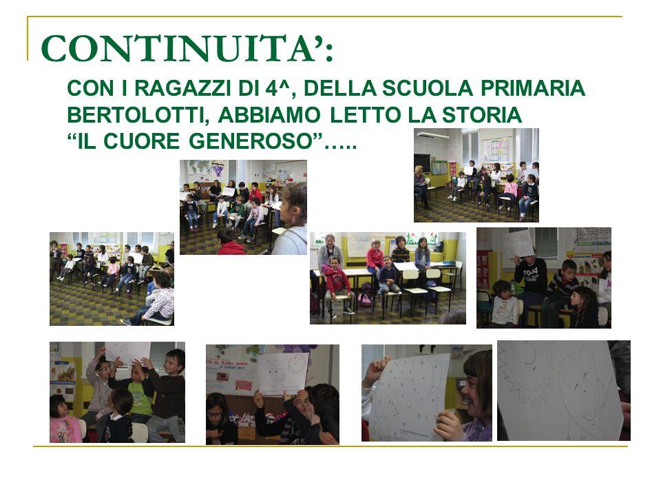 """CONTINUITA': CON I RAGAZZI DI 4^, DELLA SCUOLA PRIMARIA BERTOLOTTI, ABBIAMO LETTO LA STORIA """"IL CUORE GENEROSO""""….."""