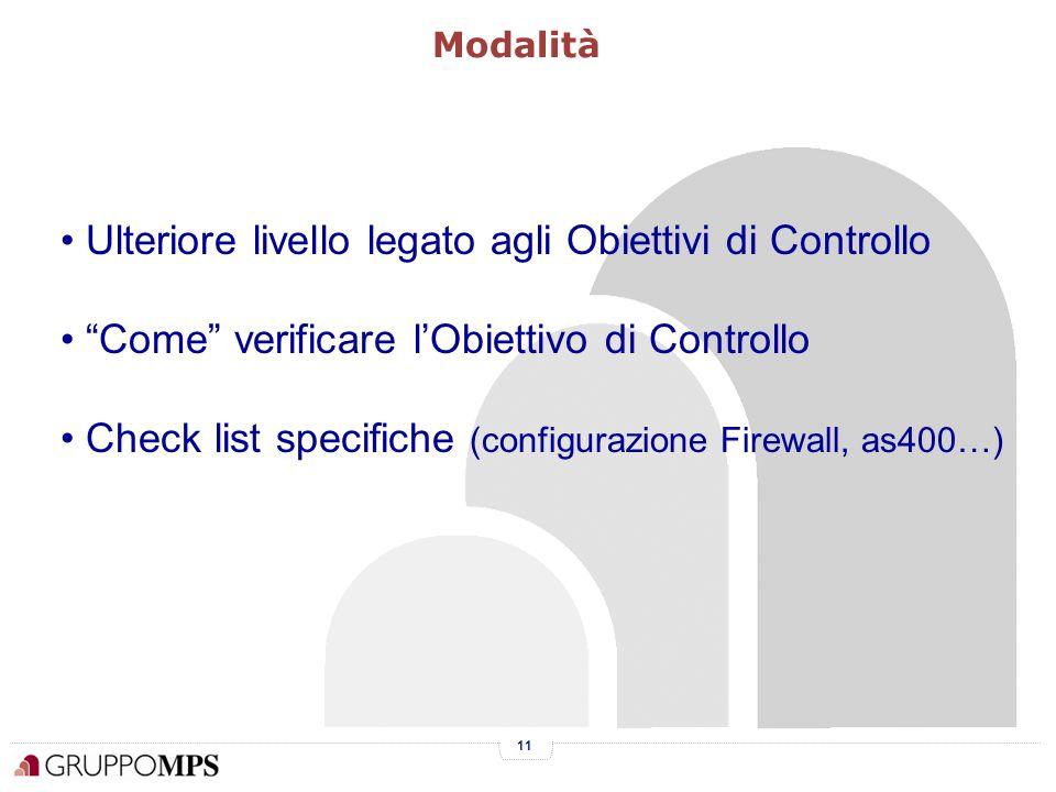 11 Ulteriore livello legato agli Obiettivi di Controllo Come verificare l'Obiettivo di Controllo Check list specifiche (configurazione Firewall, as400…) Modalità