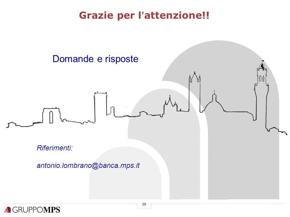30 Grazie per l ' attenzione!! Domande e risposte Riferimenti: antonio.lombrano@banca.mps.it
