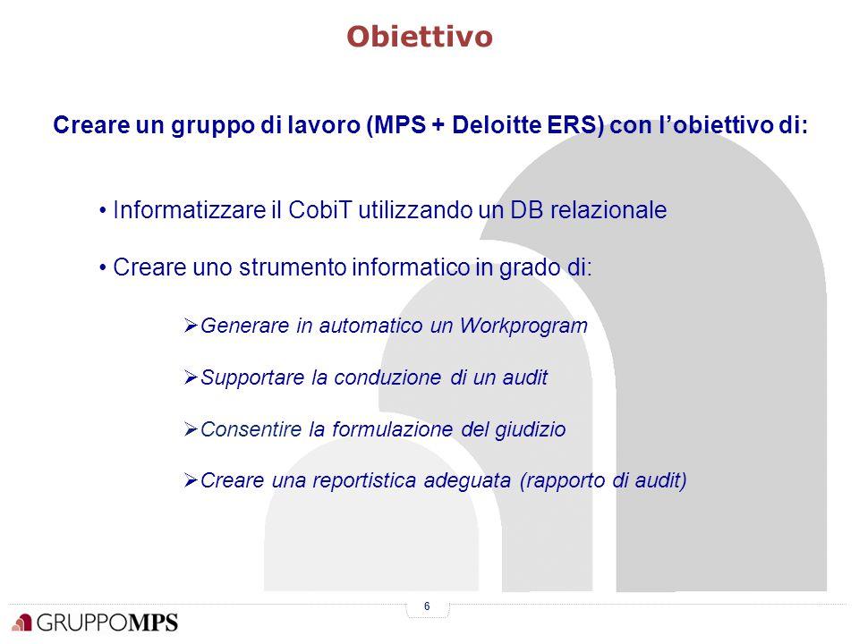 6 Obiettivo Informatizzare il CobiT utilizzando un DB relazionale Creare uno strumento informatico in grado di:  Generare in automatico un Workprogram  Supportare la conduzione di un audit  Consentire la formulazione del giudizio  Creare una reportistica adeguata (rapporto di audit) Creare un gruppo di lavoro (MPS + Deloitte ERS) con l'obiettivo di: