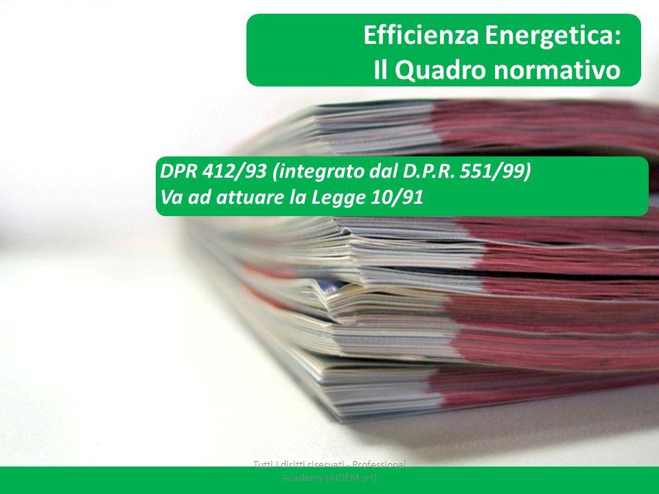 DPR 412/93 (integrato dal D.P.R. 551/99) Va ad attuare la Legge 10/91 APE: Il Quadro normativo Efficienza Energetica: Il Quadro normativo Tutti i diri