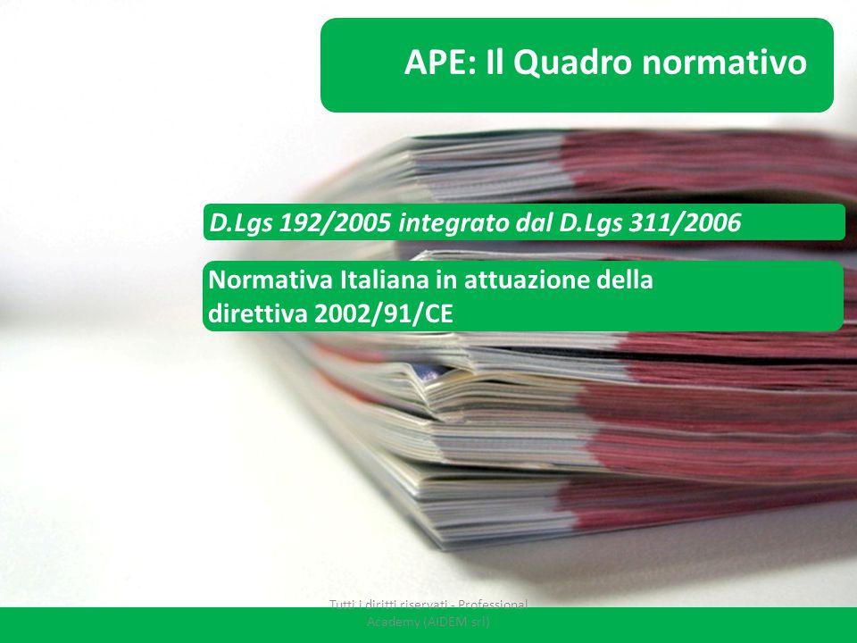 D.Lgs 192/2005 integrato dal D.Lgs 311/2006 APE: Il Quadro normativo Normativa Italiana in attuazione della direttiva 2002/91/CE Tutti i diritti riser