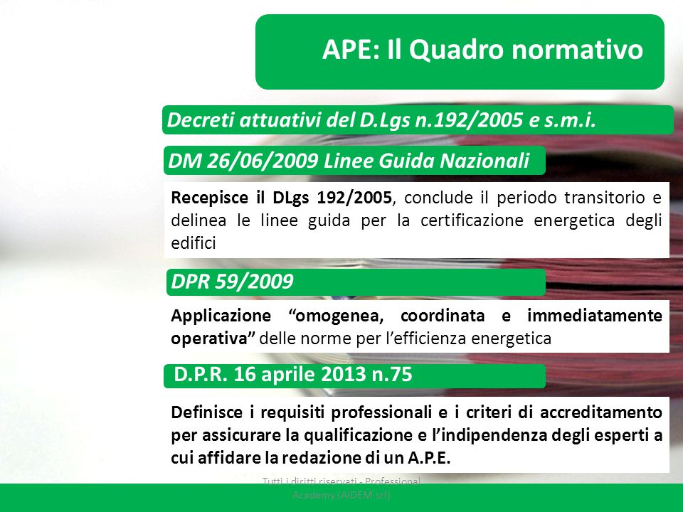DM 26/06/2009 Linee Guida Nazionali APE: Il Quadro normativo Recepisce il DLgs 192/2005, conclude il periodo transitorio e delinea le linee guida per