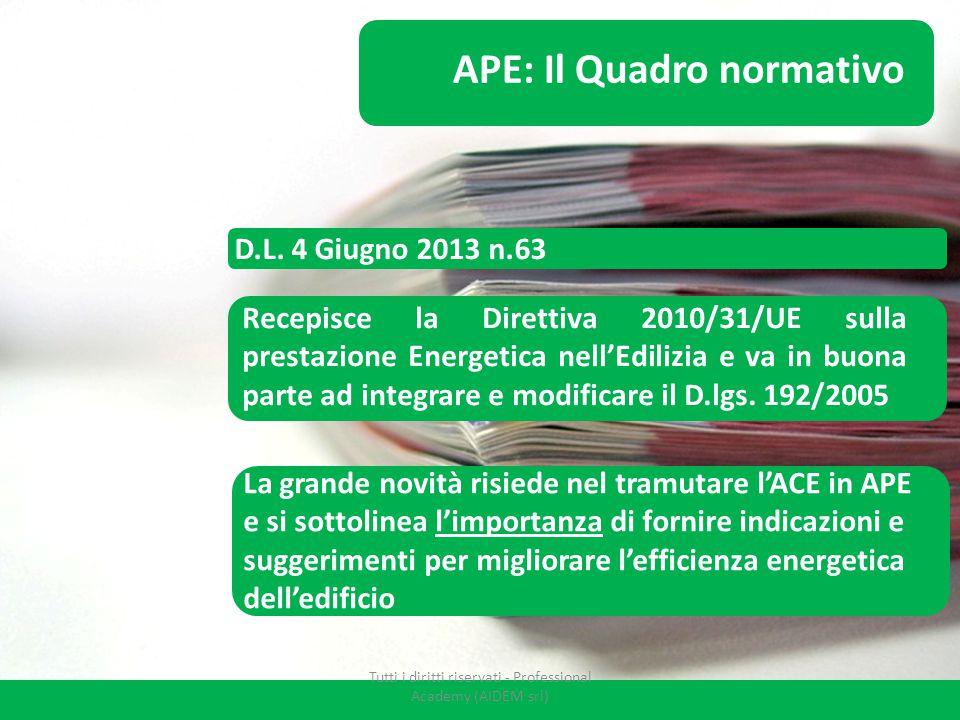 D.L. 4 Giugno 2013 n.63 APE: Il Quadro normativo Recepisce la Direttiva 2010/31/UE sulla prestazione Energetica nell'Edilizia e va in buona parte ad i