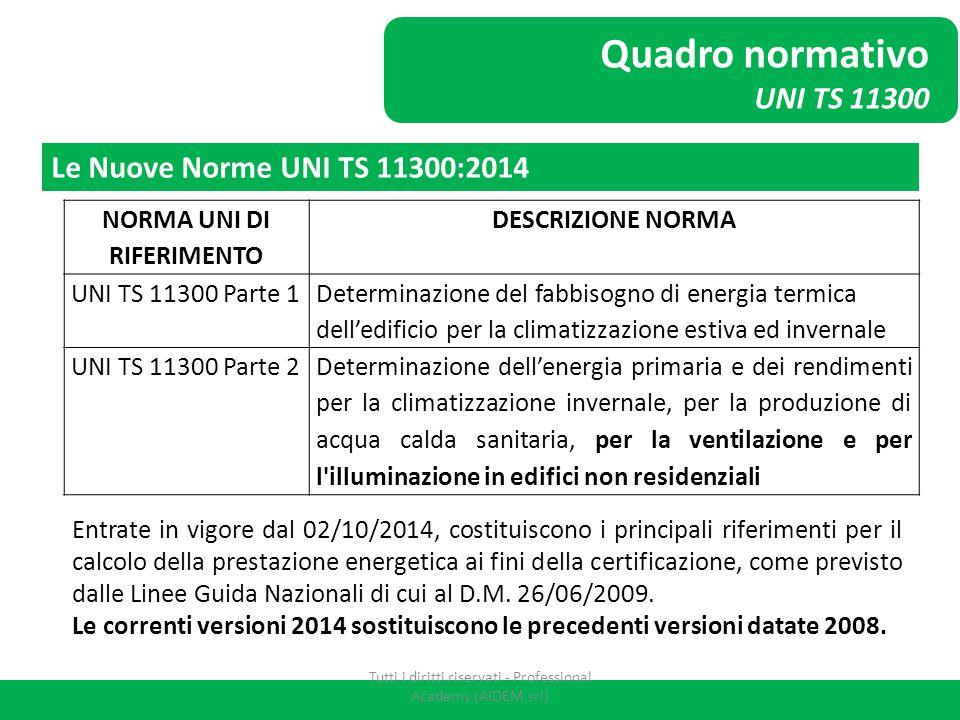 Quadro normativo UNI TS 11300 NORMA UNI DI RIFERIMENTO DESCRIZIONE NORMA UNI TS 11300 Parte 1 Determinazione del fabbisogno di energia termica dell'ed